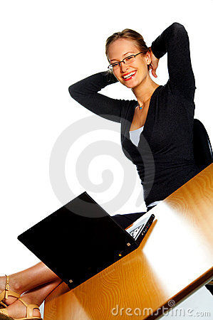 Satisfied smiling businesswoman