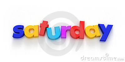 Saturday word formed with colourful letter magnets on neutral ...
