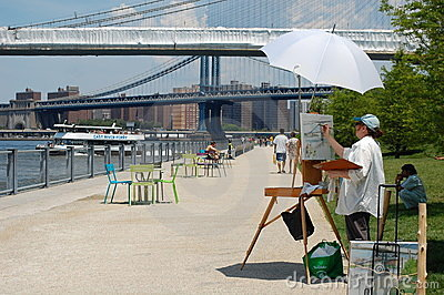 Saturday in Brooklyn Bridge Park in New York City Editorial Photography