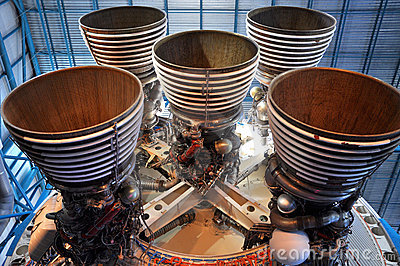Saturn V Rocket Engines, Cape Canaveral, Florida Editorial Stock Photo