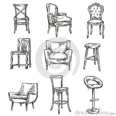 Satz Hand Gezeichnete Stühle Stockfotografie - Bild: 36396782
