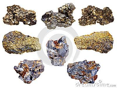 Satz Pyrit- und Chalcopyritemineralien