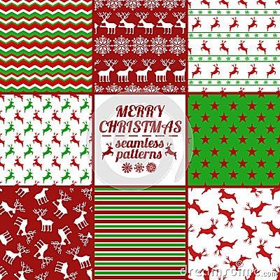 satz weihnachts und neues jahr nahtlose muster mit rotwild. Black Bedroom Furniture Sets. Home Design Ideas