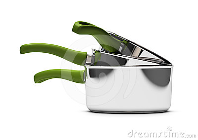 Sauce pan, green handle