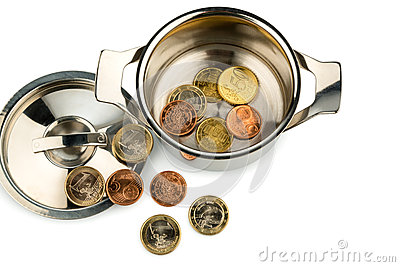 Saucepan and euro coins