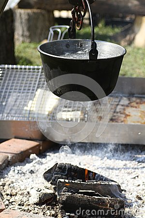 Saucepan over a bonfire