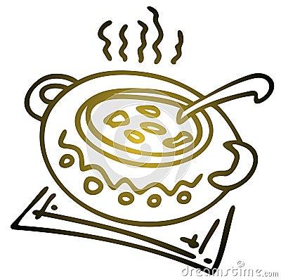 Saucepan with soup