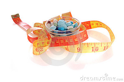 Saucer with pills and measuring tape