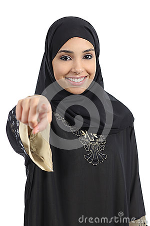 Free Saudi Arab Woman Pointing At You And Looking At Camera Royalty Free Stock Image - 36831246