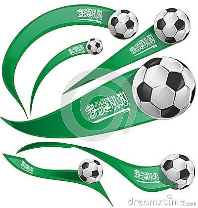 Free Saudi Arabia Flag Set With Soccer Ball Royalty Free Stock Photo - 109037155
