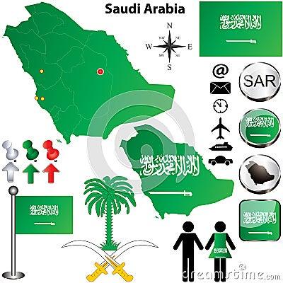 Free Saudi Arabia Map Royalty Free Stock Image - 29243426