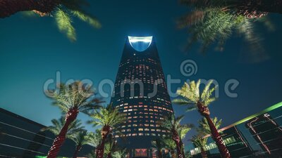 Saudi Arabia, Riyadh, KSA - Riyadh Sunset Timelapse, Kingdom Tower Time lapse Day to night - Saudi Arabia Tower La. Saudi Arabia, Riyadh / KSA - April 20 2019 stock video