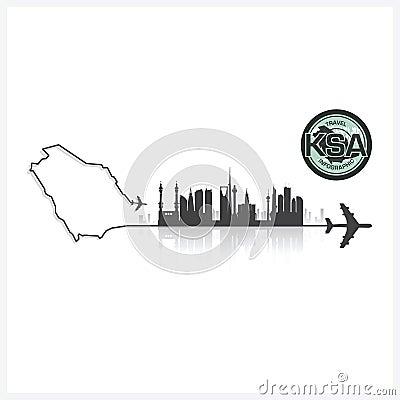 Free Saudi Arabia Skyline Buildings Silhouette Background Royalty Free Stock Photos - 56104898