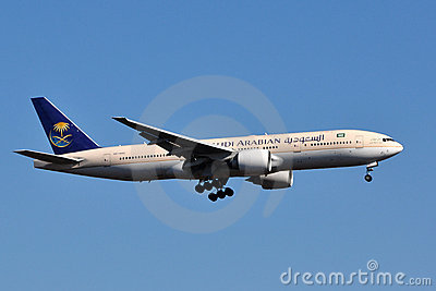 Saudi Arabian Airlines Boeing 777 Landing Editorial Stock Photo