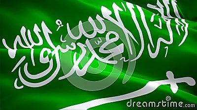 Saudyjczyka chorągwiany zbliżenie 1080p Folował HD 1920X1080 materiału filmowego wideo falowanie w wiatrze Krajowy 3d saudyjc ilustracja wektor