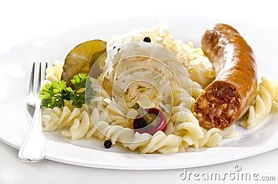 Sauerkraut with noodle