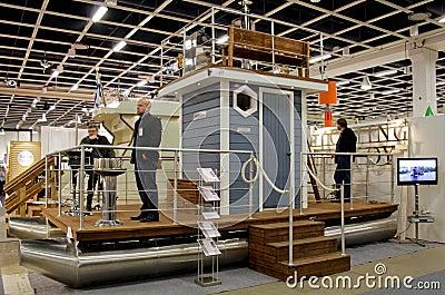 Sauna-Boat at Boat Show Editorial Image