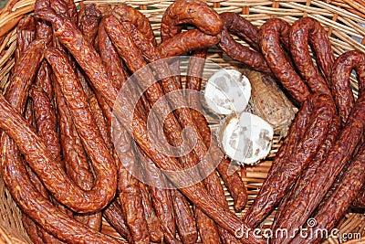 Sausage and pastrami sliced