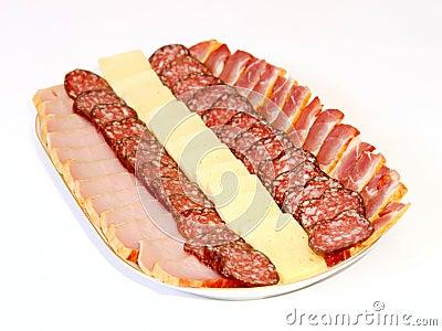Sausage, balyk and cheese