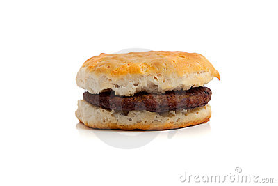 A Sausage biscuit on white