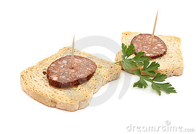 Sausage on bread