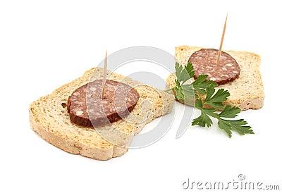 Sausage on bread
