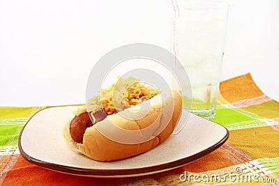 Sausage On Bun With Sauerkraut