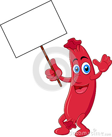 Sausage cartoon with blank sign