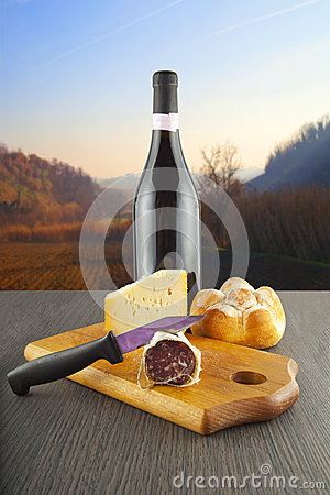 Sausage, cheese and wine