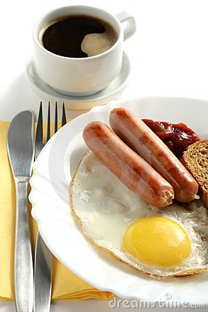 Sausage with egg and a cup of coffee