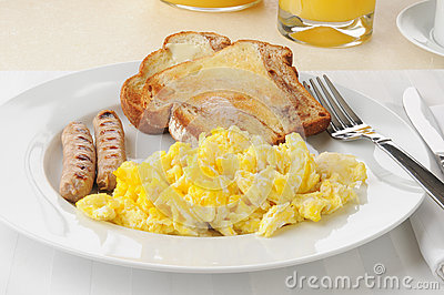Sausage and eggs with cinnamon toast