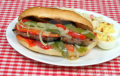 sausage and peppers sandwich