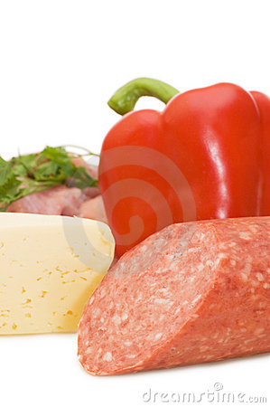 Sausage and pepper isolated