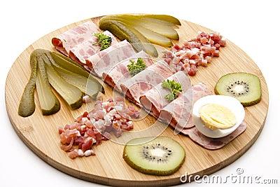 Sausage plate Stock Photo