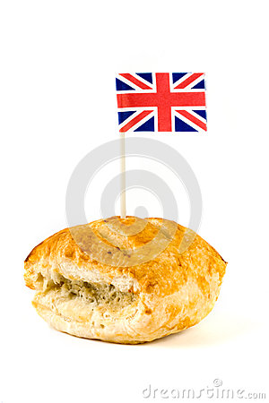 Sausage roll with union jack over white