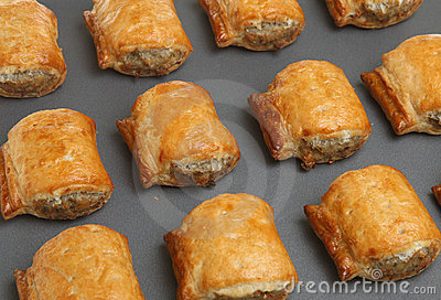 Sausage Rolls on Baking Tray