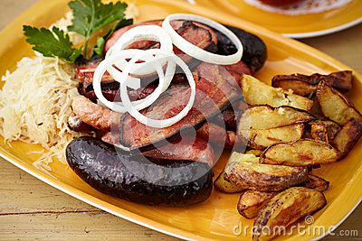 Sausages and bacon mix