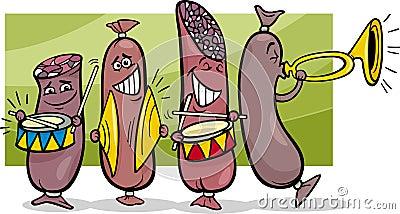 Sausages band cartoon illustration