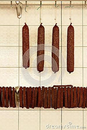 Sausages in butcher shop