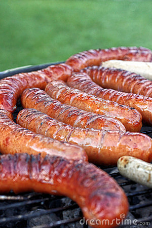 Sausages on grill.