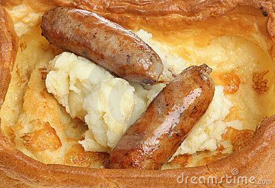 Sausages & Mash in Yorkshire Pudding