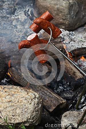 Sausages on the stick