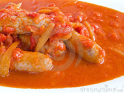 Sausages in tomato sauce.