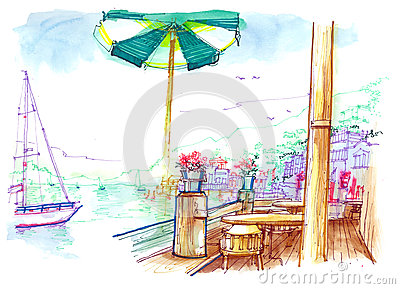 Sausalito view from the bay cafe illustration