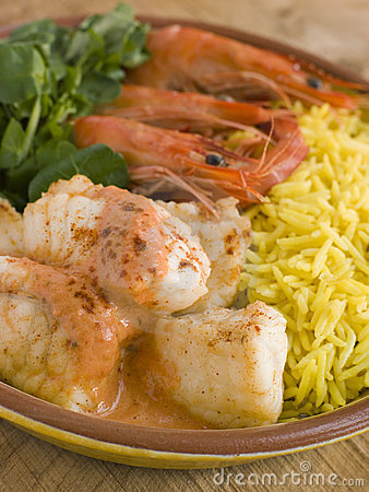 Saute of Monkfish Prawns and Rice with Pimento