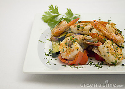 Saute Shrimps with stir fry