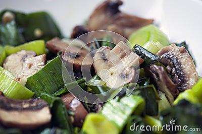 Sautee Mushrooms and Onions/Leeks