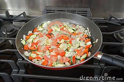 Sauteed veggies for pizza