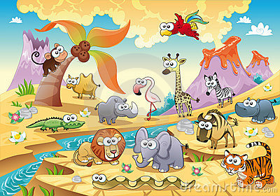 Savannah animal family with background.