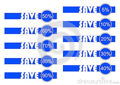 Save in blue and white